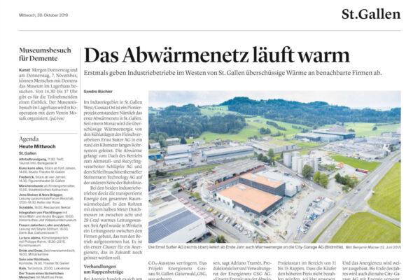 St. Galler Tagblatt: Das Abwärmenetz läuft warm